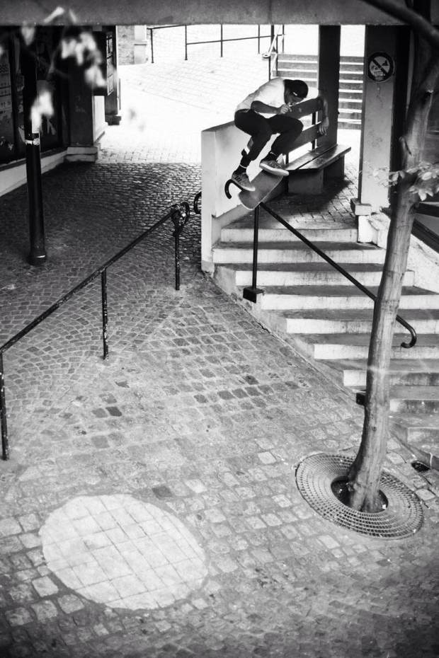 Kickflip over rail to Bank Paris (Photo by Alexandre Pires)